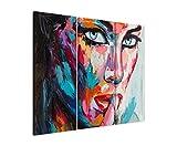3 teiliges Leinwand-Bild 3x90x40cm (Gesamt 130x90cm) Buntes modernes Ölgemälde – Frau mit blauen Augen auf Leinwand exklusives Wandbild moderne Fotografie für ihre Wand in vielen Größen