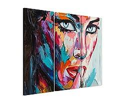 3 teiliges Leinwand-Bild 3x90x40cm (Gesamt 130x90cm) Buntes modernes Ölgemälde - Frau mit blauen Augen auf Leinwand exklusives Wandbild moderne Fotografie für ihre Wand in vielen Größen