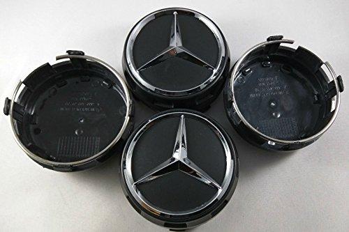 UG-4X-Tappi-Coprimozzo-Rialzati-per-Mercedes-75mm-Colore-Nero-Ricambio-per-Borchie-Cerchi-Lega
