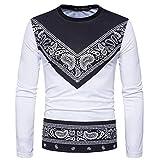 BaZhaHei Herren Langarm Männer Herbst afrikanischen Print langärmeligen Runden Kragen Sweatshirts Top Bluse Drucken Rundhals T-Shirt Mantel