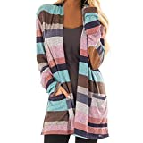 TianWlio Jacken Parka Mäntel Herbst Winter Warme Jacken Strickjacken Damen Herbst und Winter Gestreifte Top Strickjacke Pocket Langarmjacke Rosa XL