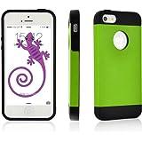 JAMMYLIZARD | Back Cover Hülle für [ iPhone 5 / 5s und iPhone SE ] aus TPU Silikon und Leder, GRÜN