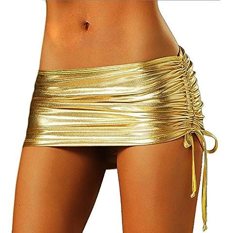Rhh Mujeres lencería Brillante Patente de Cuero Apretado Clubwear de Fiesta Corto Con Falda en el Interior de Panty