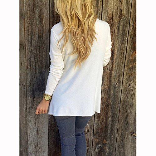Smile YKK T-shirt à Manche Longue Femme Pull Frange Top Mi-long Soirée Anniversaire Casual Mode Blanc