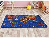 Primaflor - Ideen in Textil Kinderteppich Lernteppich WELTKARTE - Spielmatte Spielteppich Schadstoffgeprüft, Anti-Schmutz-Schicht, Kinderzimmerteppich mit Karte (1,30cm x 2,00cm)