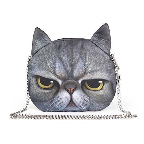 LUI SUI Mädchen Schnitt Katze Gesicht Schultertasche Schöne Tierkopf Stilvolle Umhängetasche Bestes Geschenk für Katzenliebhaber