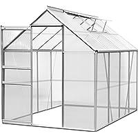 Deuba Aluminium Gewächshaus 7,6 m³ M3 Treibhaus Gartenhaus Frühbeet Pflanzenhaus Aufzucht 250 x 190 x 195cm