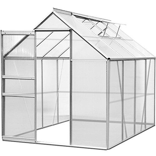 Aluminium Gewächshaus 7,6 m³ M3 Treibhaus Gartenhaus Frühbeet Pflanzenhaus Aufzucht 250 x 190 x...