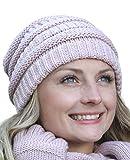 Stellen Sie sich Ihr Winter Kombi Set zusammen: Loop-Schal, passende Strickmütze und/oder Handschuhe/Beanie mit Öffnung für den Zopf, Set Zusammenstellung:Mütze Altrosa
