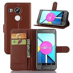 LG Nexus 5X Google Handyhülle Book Case LG Nexus 5X Google Hülle Klapphülle Tasche im Retro Wallet Design mit Praktischer Aufstellfunktion - Etui Braun