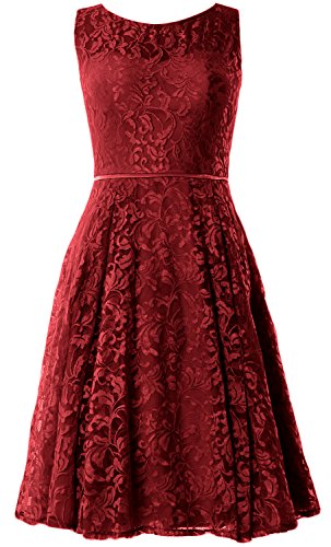 MACloth Women Lace Cocktail Dress Vintage Knee Length Wedding Party Formal Gown (EU42, Burgundy) Ball Gown Scoop Neck