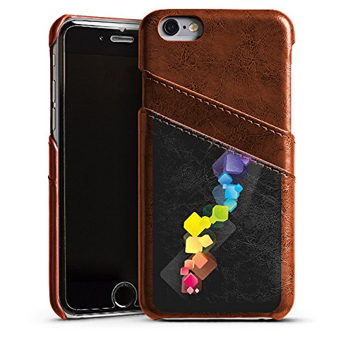 Apple iPhone 5s Housse Étui Protection Coque Dé couleurs Contraste Étui en cuir marron