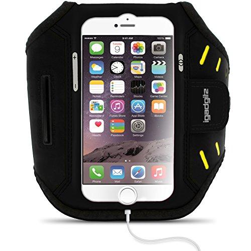 igadgitz Schwarz Wasserabweisend Leichtes Neopren Sports Jogging Armband Laufen Fitness Oberarmtasche für Apple iPhone 7 & 8 4.7 Zoll mit Schlüsselfach