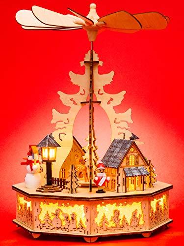 Sikora P33 LED Holz Weihnachtspyramide mit elektrischem Antrieb und Beleuchtung, Farbe/Modell:Motiv Laterne Schneemann Kind Häuser (Elektrischer Ebene)