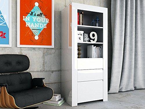 Wohnzimmerschrank AMBER 21 von TFT Home Furniture, weiß, 1 Tür, 2 Schubladen, 3 offene Fächer