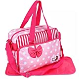 PACKNBUY Baby Diaper Bag with Mat Shoulder Strap Bow Pink