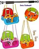 2 tlg. Set: mitwachsende - Babyschaukel / Kinderschaukel - mit Gurt + Türreck - Gitterschaukel verstellbar & mitwachsend - ' ROSA / PINK ' - leichter Einstieg ! - belastbar 100 kg - Kinderschaukel ab 1 Jahre - Reck für Türrahmen Befestigung - Stange - Türstange - mit Seitenschutz & Rückenlehne - Schaukel für Kinder - Innen und Außen / Garten - für Baby´s - Sicherheitsgurt - Gitterschaukel / Kleinkindschaukel - Baby - aus Kunststoff / Plastik - Kunststoffschaukel - mitwachsend