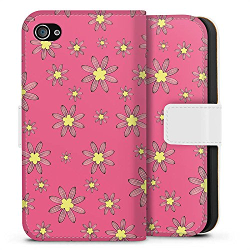 Apple iPhone X Silikon Hülle Case Schutzhülle Flower Muster Blumen Sideflip Tasche weiß