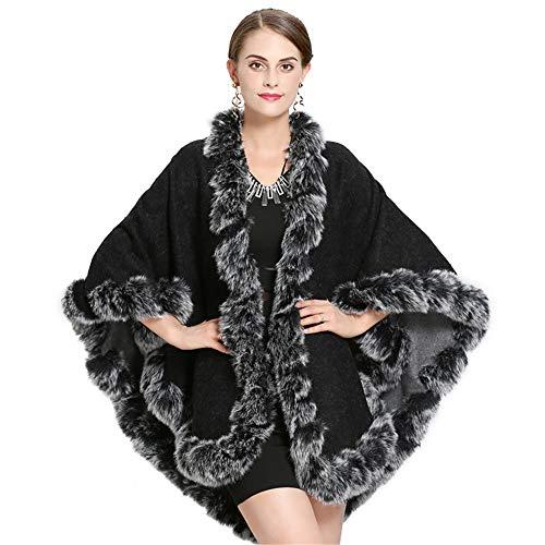 Donna donna bambina doppio abbigliamento mantella cappotto pelliccia ecologica pounch mantello con collo scialle (colore : nero)