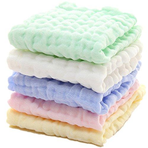Baby Musselin Waschlappen - natürliche Bio-Baumwolle Baby-Feuchttücher - weiche neugeborenes Baby Handtuch und Musselin Waschlappen für empfindliche Haut, 5 Stück 25,4 x 25,4 cm von Mulinn
