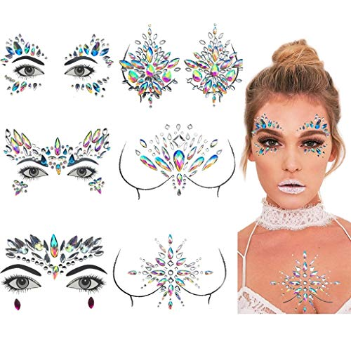 Amycute Gesicht Edelsteine Strass Temporäre Tattoos Gesicht Juwelen Sticker Kristall Körper Tattoos,Schmucksteine Selbstklebend Gesicht für Glitzer Effekt, Parties, Shows, Make-up. - Körper Kristalle