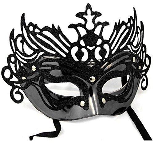 Inception Pro Infinite Maske für Kostüm - Verkleidung - Karneval - Halloween - Theater - Edel - Venetian - Glitter - Schwarz - Erwachsene - Frau - Mädchen