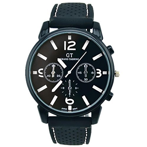 Fulltime(TM) Mode Hommes Montres à Quartz Bracelet en Silicone, Montre de Sport Militaire Noir + Blanc