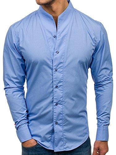 Bolf camicia – a manica lunga – colletto alla coreana – slim fit – casual style – da uomo 5702 celeste l [2b2]