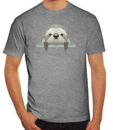 Sloth Herren T-Shirt mit Polygon Faultier Motiv von ShirtStreet Graumeliert