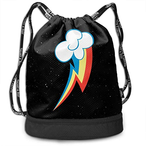Voxpkrs Rainbow Dash Unisex Waterproof Drawstring Backpack Rucksack Yoga Dance Travel Shoulder Bags
