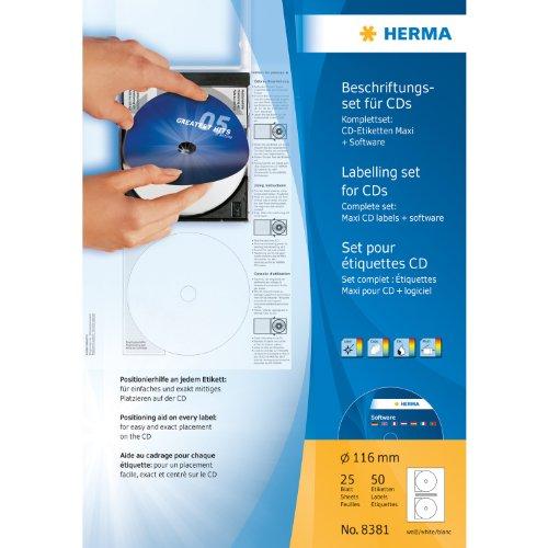 Herma 8381 CD-Beschriftungsset (A4 Software, Ø 116 mm, Papier matt) 25 Blatt weiß