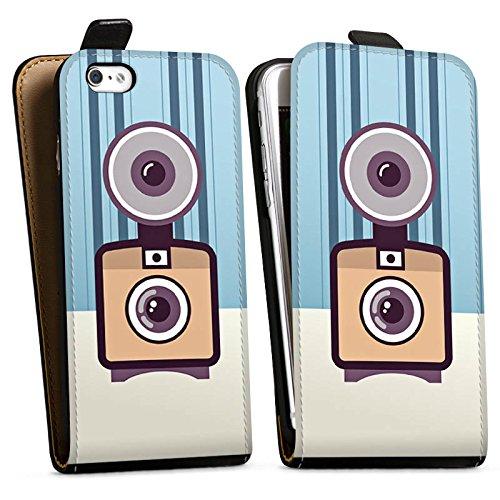 Apple iPhone X Silikon Hülle Case Schutzhülle Vintage Kamera Fotografie Symbol Downflip Tasche schwarz