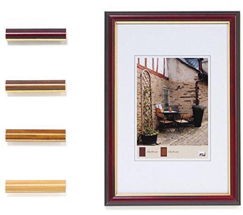 Bilderrahmen Holz HR-41 Echtglas goldene Innenkante 15x20 cm eiche dunkel (Dunkle Holz-bilderrahmen)