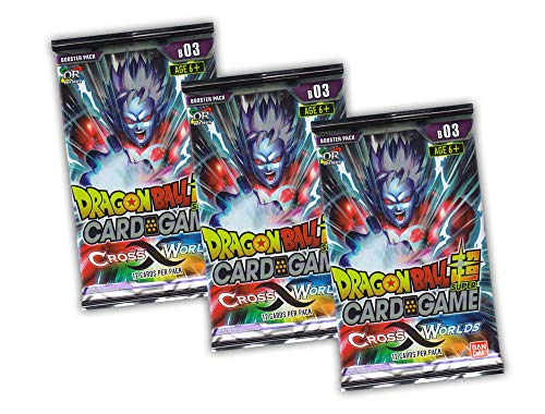 Dragonball Z Trading Cards - 3 Booster Set Serie 3 Cross Worlds - englisch (Dragon Ball Z Set)