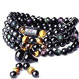 LEIGAGA Nouveau Design Naturel Arc en Oeil Obsidienne Six Mots 108 Perles Bracelet Gourde Pendentif Mala pour Hommes Femmes Yoga Collier en Gros6mm