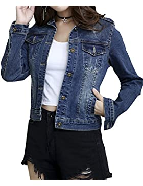 Giacca di Jeans Denim Lavato Jacket Vintage Manica Lunga Stile Boyfriend Oversize Casuale