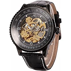 Ks Royal Carving Luxury Automatic Mechanical Skeleton Black Mens Wrist Watch KS114