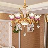 YXWdda Kronleuchter LED-Wohnzimmer-Kristallleuchter im europäischen Stil/Moderne atmosphärische Kerze Jane Europäisches Restaurant Retro 6 leuchtet [Energieklasse A ++] lampen
