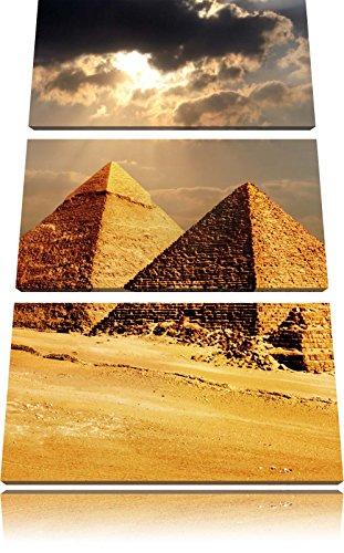Pyramiden von Gizeh im Sonnenlicht 3-Teiler Leinwandbild 120x80 Bild auf Leinwand, XXL riesige Bilder fertig gerahmt mit Keilrahmen, Kunstdruck auf Wandbild mit Rahmen, gänstiger als Gemälde oder Ölbild, kein Poster oder Plakat - Sonnenlicht Köln