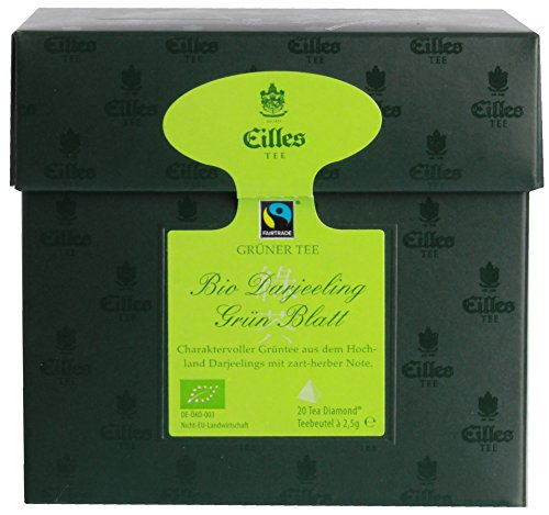 Eilles Tee – Bio Darjeeling Grün Blatt Fairtrade Indien Hochland Assam Ceylon Schwarzer Tee Fermentiert Beuteltee – 20Bt/50g