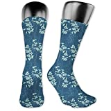vnsukdlfg Medium long Crew Socks,Blue Floral,Abstract Leaves and Outlines Rural Field Garden Foliage Art,Unisex 15.7',Night Blue and Almond Green