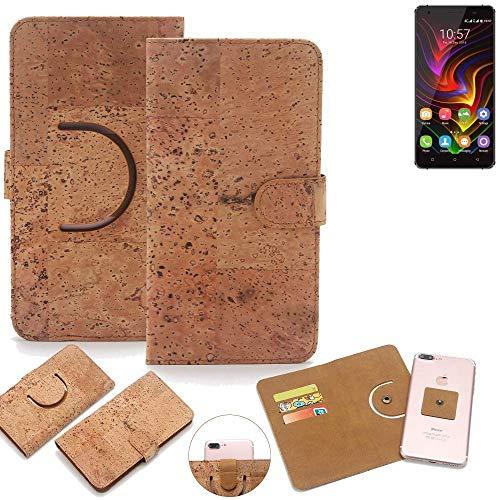 K-S-Trade Schutz Hülle für Oukitel C5 Pro Handyhülle Kork Handy Tasche Korkhülle Schutzhülle Handytasche Wallet Case Walletcase Flip Cover Smartphone Handyhülle