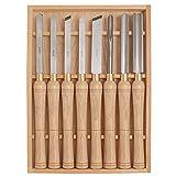 Set di scalpelli per tornio a 8 pezzi per tornitura del legno, manici in legno duro e acciaio con custodia in legno