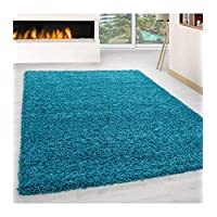Shaggy Rug Long Pile Carpet Single Color Turquoise - 140x140 cm square