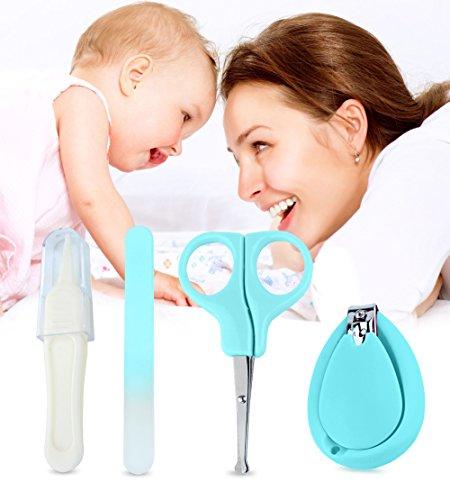 4 Stück Baby Nagelknipser Set | Kompletter Manikür-Knipser Satz für Babys und Kleinkinder | Nagelknipser, Sicherheitsschere, Pinzette & Feile | Gesundes Baby Pflegeset, von Boxiki Kids.(Grün)