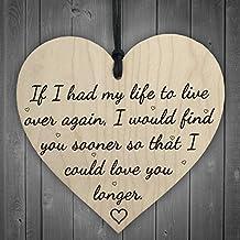 """Red Ocean Targa per anniversario in stile shabby chic con frase """"Love You Longer"""", a forma di cuore, in legno, da appendere"""