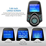 FM Transmitter, VicTsing Car MP3 Player FM Transmitter Bluetooth Handsfree Car Kit Wireless Radio Audio Adapter with Dual USB 5V 2.1A USB Charger, 1.44 Inch LCD Display, 3.5mm Audio Port, TF Card Slot, USB Flash Drive Port For iPhone, iPad, iPod, HTC, MP3, MP4 and Most Devices with 3.5mm Audio Jack-Black