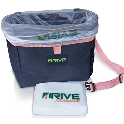 DRIVE Car Bin (Pink Strap) - Best Auto Trash Bag for Rubbish, Extra Waste Basket Liners - Hanging Recycle Garbage Can is Universal, Waterproof Organizer Makes a Great Drink Cooler & Road Trip Gift