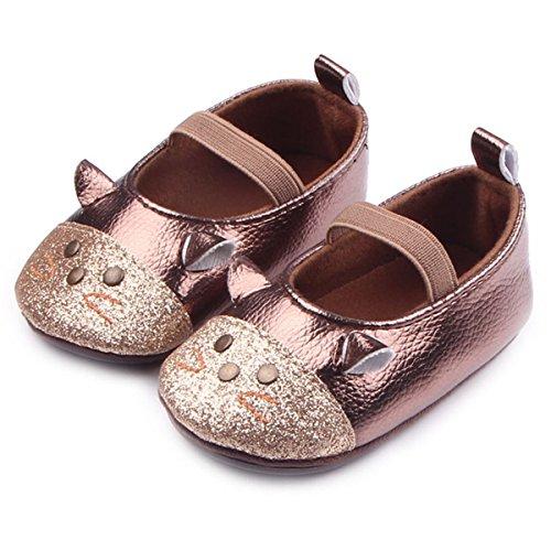 Happy Cherry Chaussures Chaussons Souple en PU - Chaussures Princesse pailleté en forme de Souris Mignones convient aux 3-6 mois - couleur et taille au choix Or