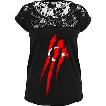 TB714 Sexy Damen Frauen Mädchen Spitzenshirt mit großem Rundhalsausschnitt und Spitze, Ladies Girls Top Laces Tee – EM 2016 – Frankreich – Türkei Krallenspuren